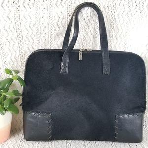 Vintage Cole Haan Calf Hair Black Leather Tote